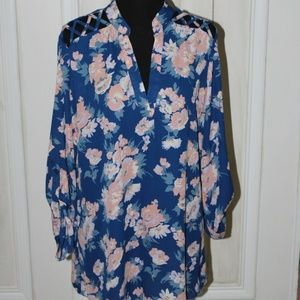 Blue Floral Tunic Blouse w/Pink and White Flowers